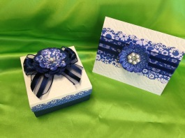 "Hi, Nada! She LOVED it! She was very surprised, and loved the intricate details! She kept saying, ""I really, really like this!"" She was amazed at the customized card and matching box! Even the hand-made envelope! She loved the finely cut blue designs on the white card stock, especially the flowers. Did you also put those blue jewels on the bag? You have such a fine eye for artistic design, Nada! Your handiwork is the best answer for beautiful, handcrafted creations that make an impression! Thank you, thank you, thank you, Nada! -Nada"